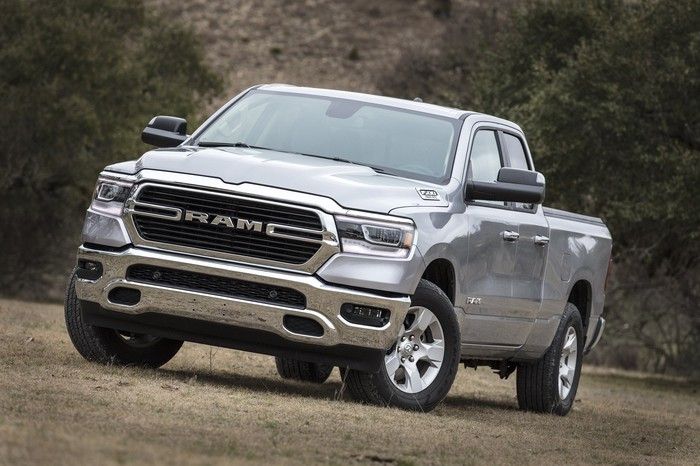 A silver 2019 Ram 1500, a full-size pickup truck.