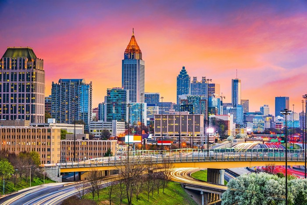 Atlanta skyline at dusk.