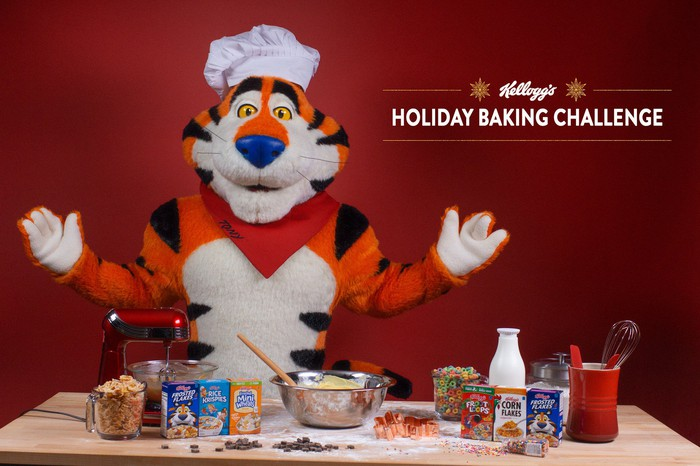 Tony the Tiger stands behind a number of Kellogg cereals.