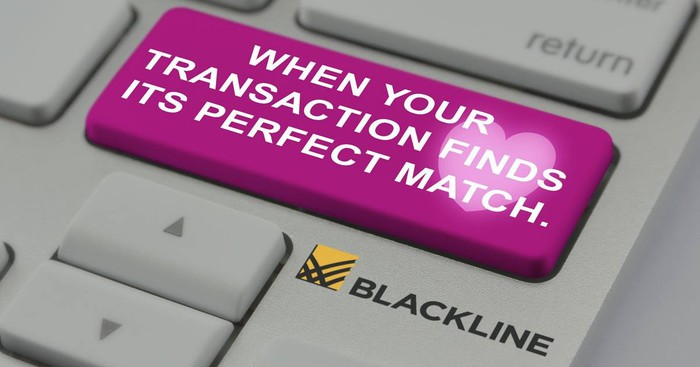 A computer button that reads, When your transaction finds its perfect match, followed by the BlackLine logo.