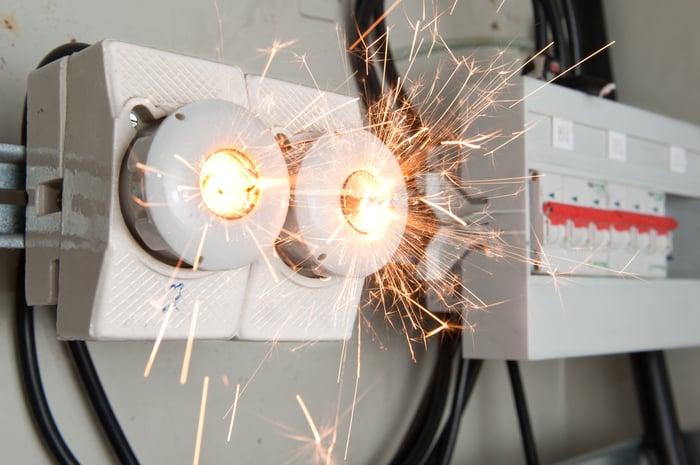 Sparks surround a short-circuiting transformer.
