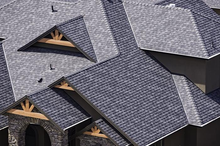 Asphalt roofing shingles.