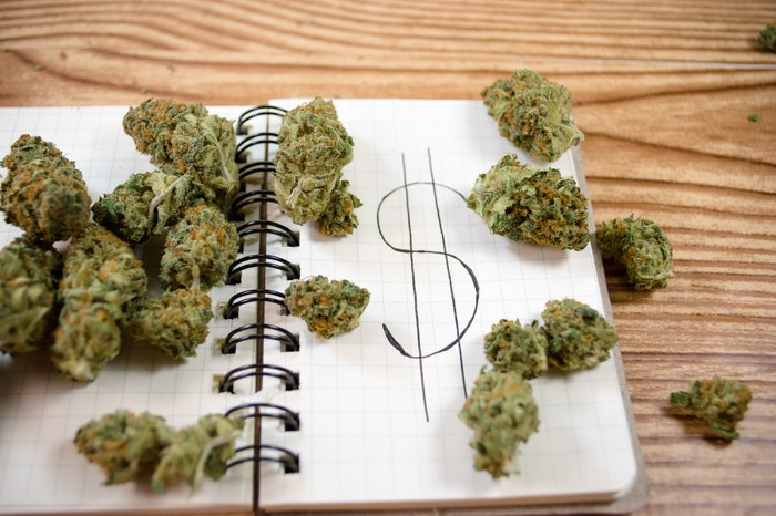 Marijuana buds on top of a notepad with a dollar sign drawn on a page