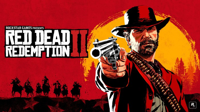 Game art for Take Two's Red Dead Redemption depicting a man wearing a wide-brimmed hat pointing a gun with a sunset and men riding horses in the background.