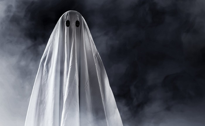 A person is dressed as a ghost.