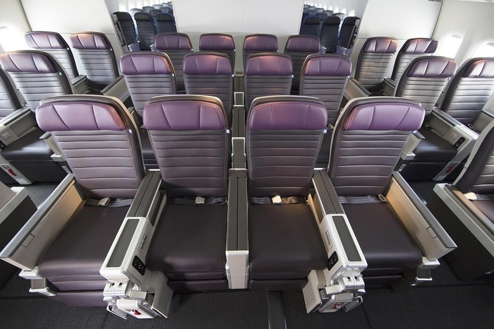 Three rows of United Premium Plus international premium economy seats