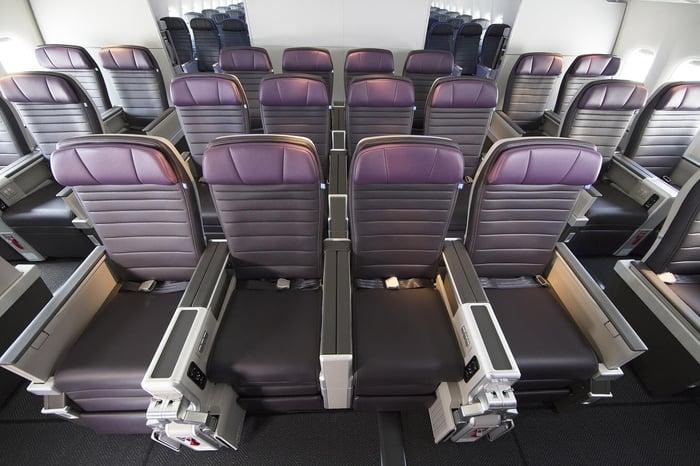 Three rows of United Premium Plus international premium economy seats