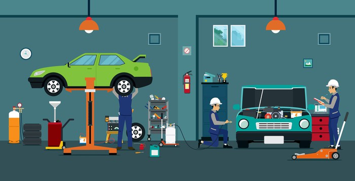 A graphic of a car repair shop.