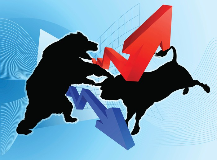 A drawing of a bull and a bear fighting. There's also a red arrow pointing up and a blue arrow pointing down.