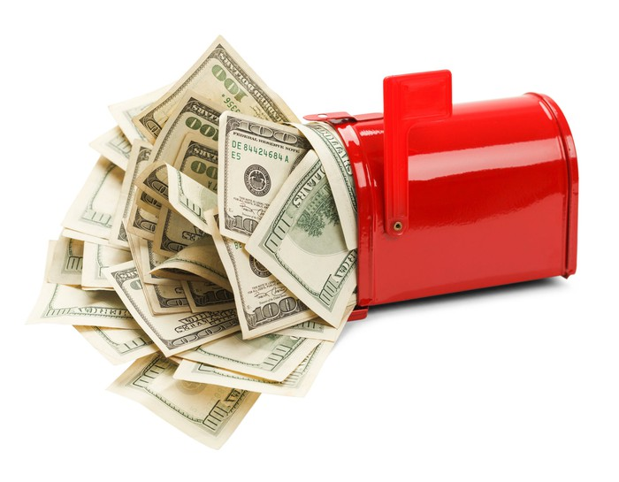 An open red mailbox with a bunch of 100-dollar bills coming out of it