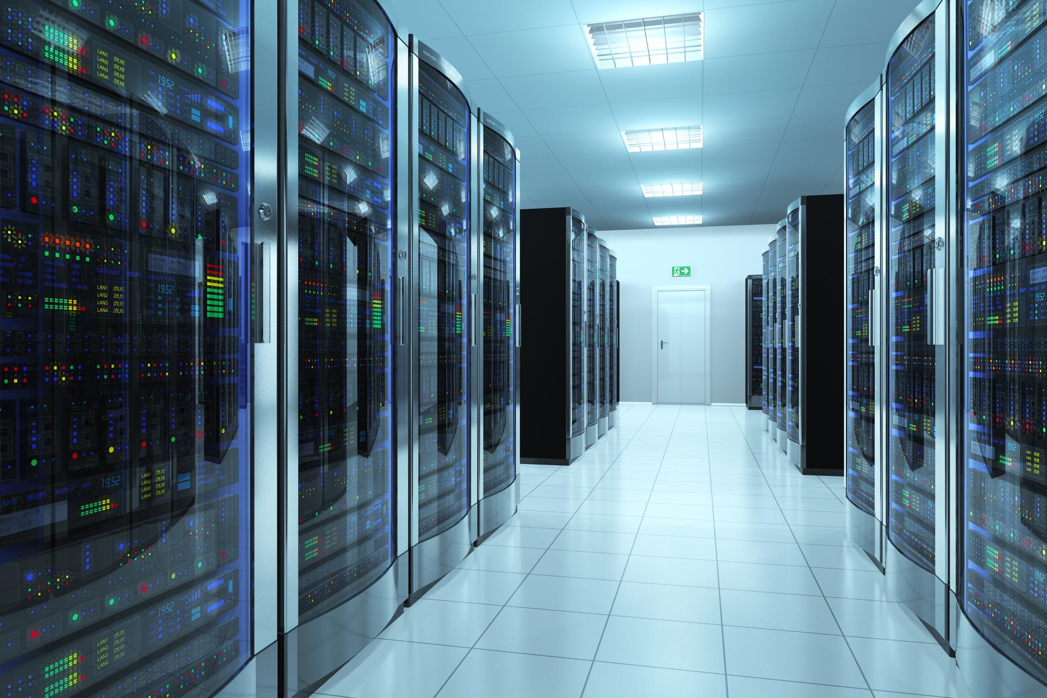 Inside a computer server room.
