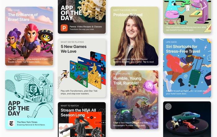 Various App Store tile cards displaying content