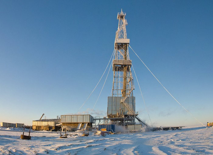Drilling rig working in winter.