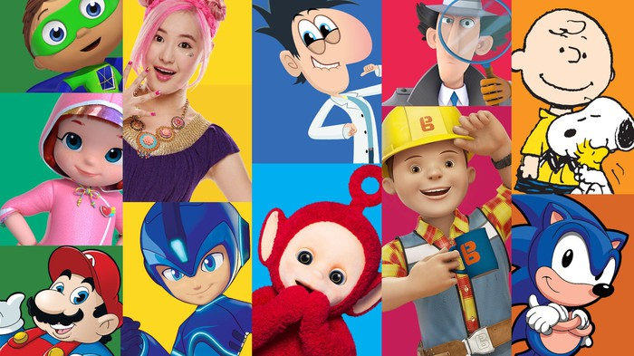 A collage of DHX Media's most popular titles, ranging from Teletubbies and Peanuts to Megaman and Mario.