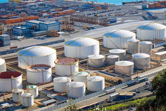Oil storage tanks.