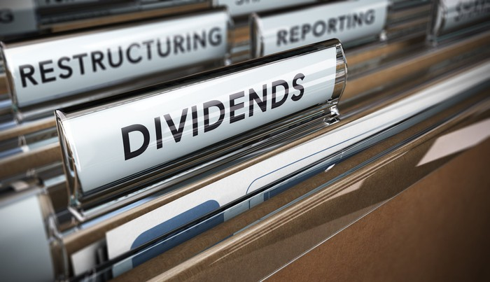 We see some file folders in a drawer, and the front one's tab is labeled dividends.