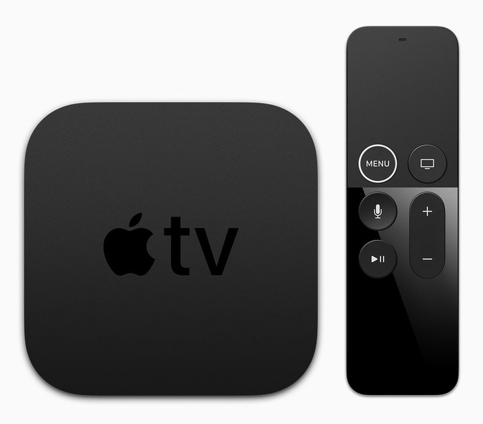 The Apple TV and remote.