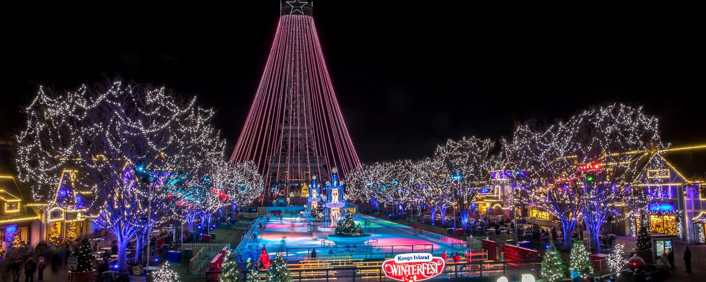 A light show during WinterFest at Cedar Fair's Kings Island amusement park.