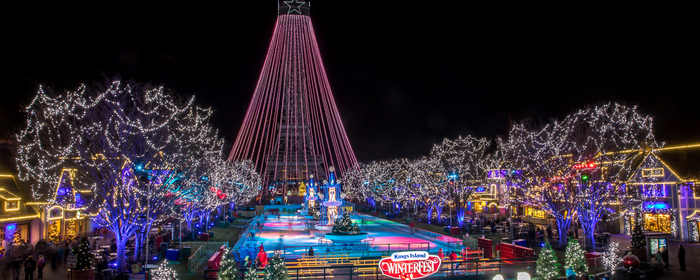 A light show during WinterFest at Cedar Fair's Kings Island amusement park.
