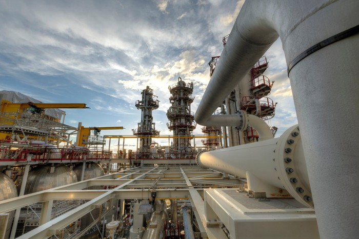 Pipelines at an energy processing complex