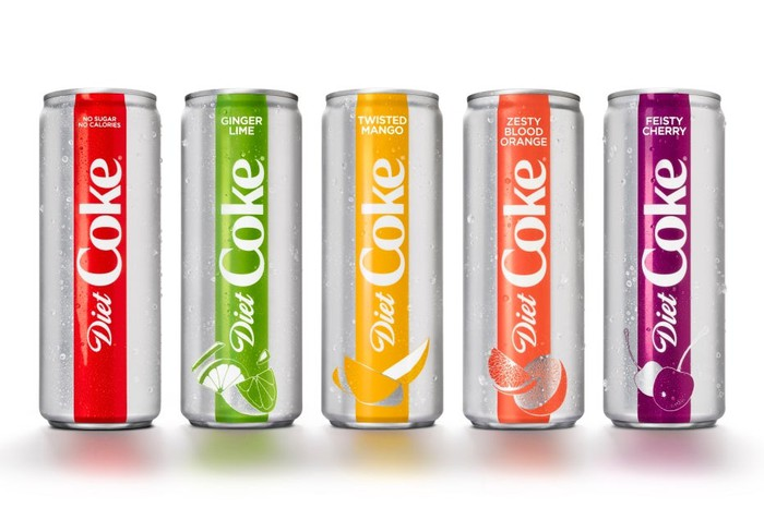 Five different flavors of diet coke