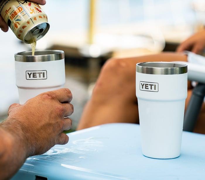 YETI brand drink cups.