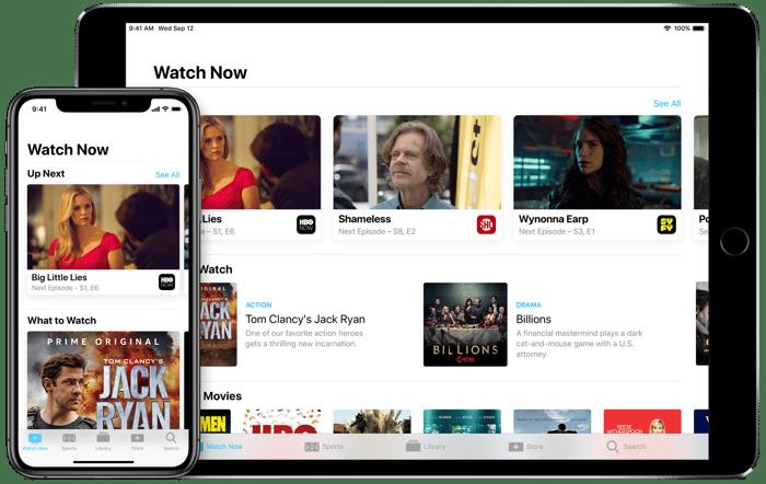Apple's TV app on iPhone and iPad.