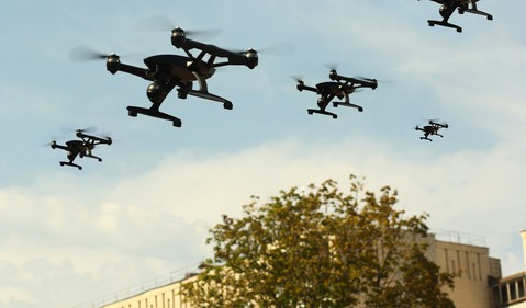 Getty Drones Fly Over Building
