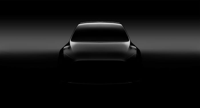 A teaser photo of Tesla's Model Y