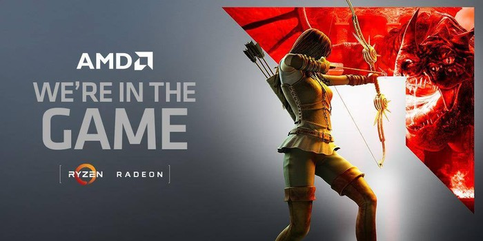 A drawing of a woman aiming her bow and arrow at a dragon. Next to them are the words AMD we're in the game. Ryzen. Radeon.