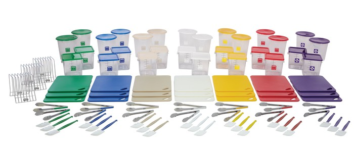 A multicolored set of Rubbermaid containers.
