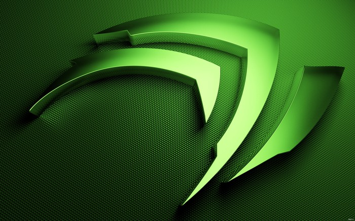 A 3-D rendering of Nvidia's corporate logo in shades of green.
