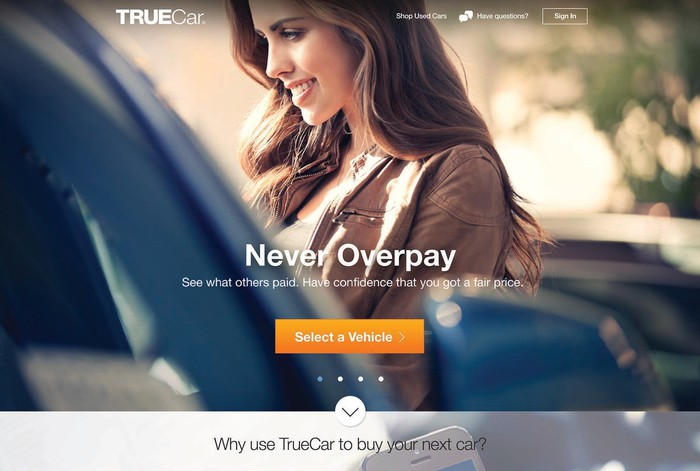Smiling person in front of a car, with TrueCar promotional text superimposed.