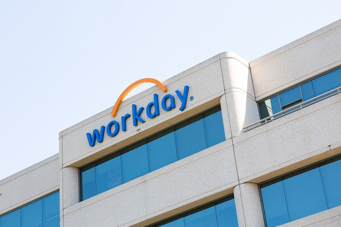 The Workday logo atop the company's headquarters building in Pleasanton, Calif.