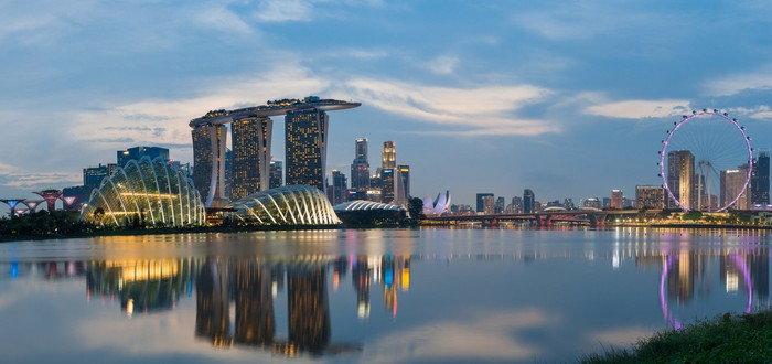 Singapore skyline with Marina Bay Sands.