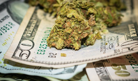 Marijuana Cannabis Pot Weed Trimmed Buds Atop Cash Bills Money Getty