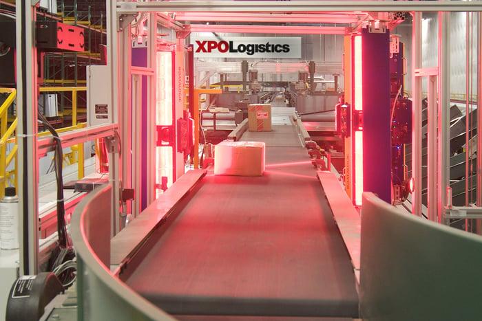 XPO sorting facility conveyor belt.