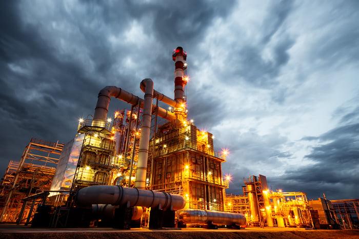 A refinery.