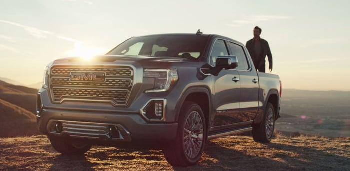 General Motors' 2019 Sierra parked off road.