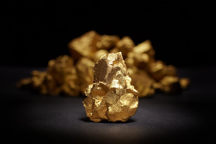 A close up of a piece of gold.