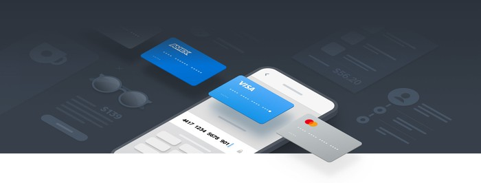 An illustration showing a series of credit cards passing over a smartphone.