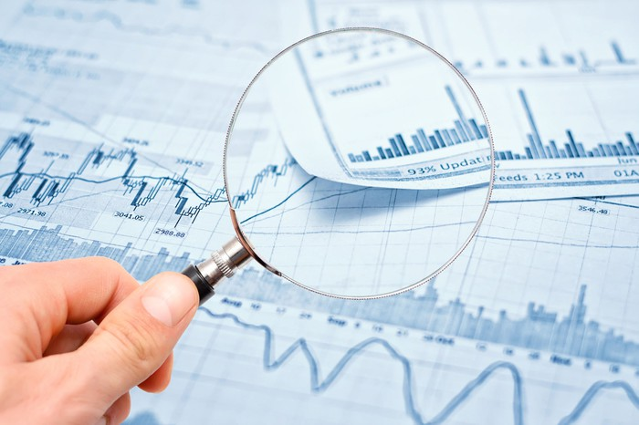 A magnifying glass held over printouts containing stock price and volume charts.