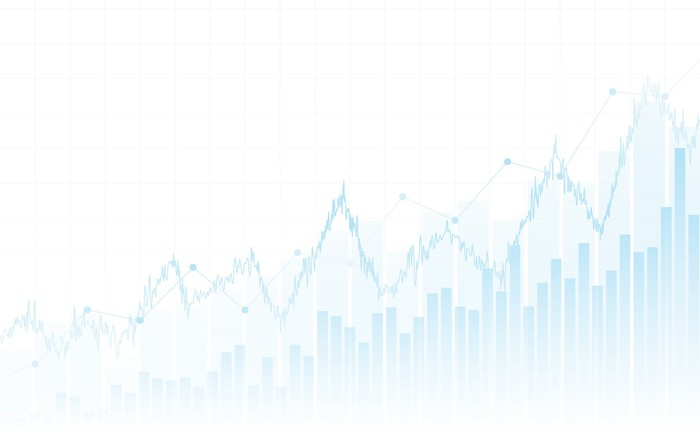 A faded blue stock chart on white background.