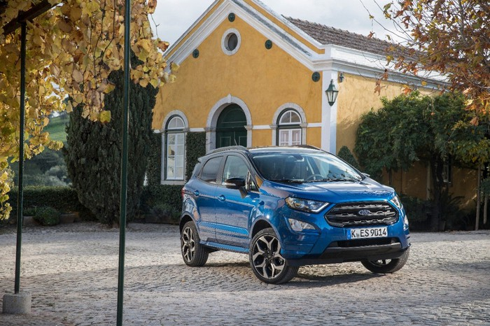 Ford's EcoSport parked in front of a home.