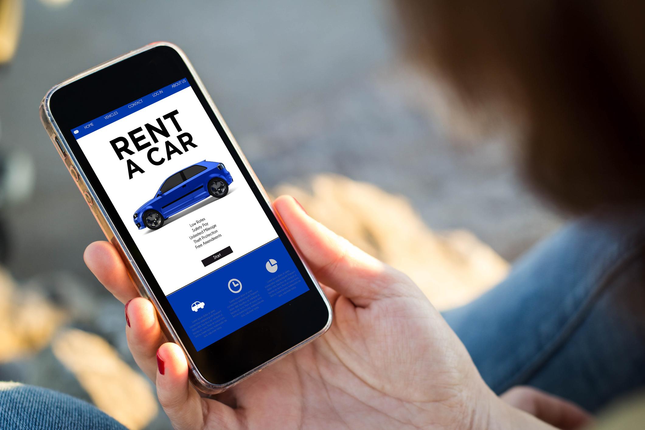 "A smart phone showing ""Rent a car"""