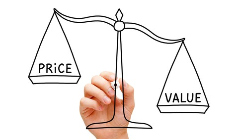 A hand drawing a balance scale weighing price and value.