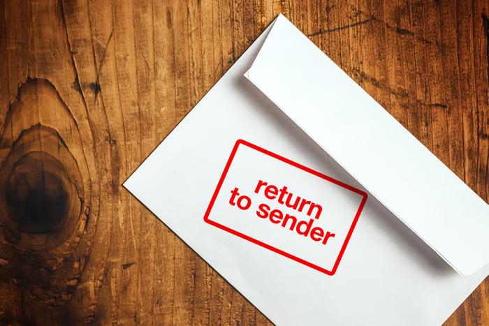 Return to sender stamped on envelope