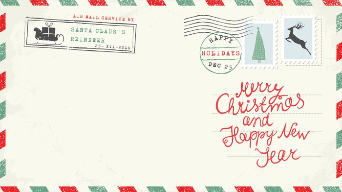 """A postcard with red and green decoration that says """"Merry Christmas and Happy New Year"""""""