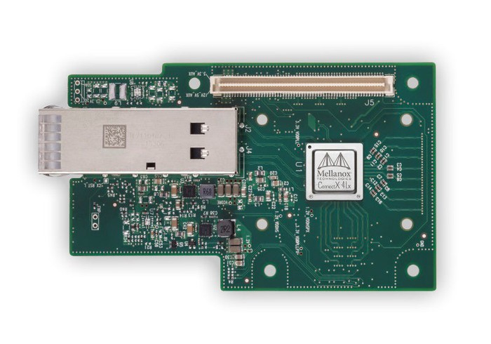 A board with a Mellanox ConnectX 4 chip on it.