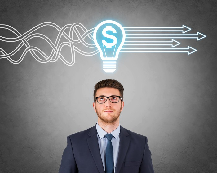 Man with idea light bulb containing dollar sign over his head.